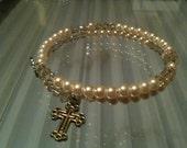 Cream Pearls  Swarovski  Rosary Bracelet