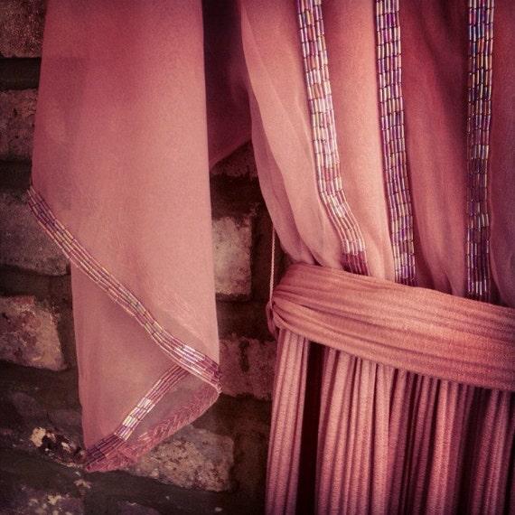 1970s Beaded sheer blush dress