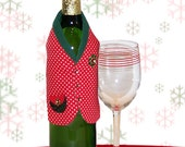 Wine Gift Wrap -- Holiday Dots Nice Vest