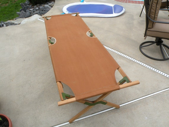 Vintage Folding Canvas Cot