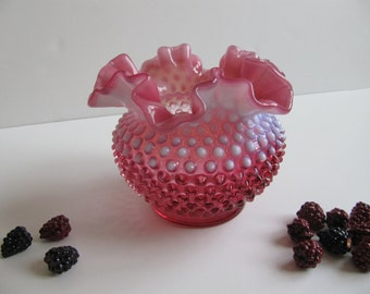 Vintage Pink Fenton Vase Opalescent Cranberry Hobnail Ruffled Glass