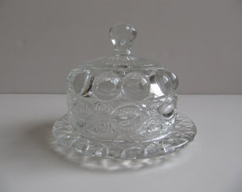 Vintage Round Mosser Eyewinker Pattern Glass Butter Dish with Cover, Clear