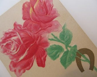 Antique Postcard Card Horseshoe and Roses Embossed Early 1900s , Victorian Ephemera