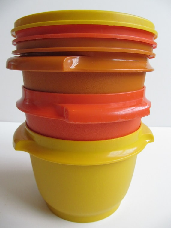 Three Vintage Tupperware Servalier Bowls with Handles and Lids