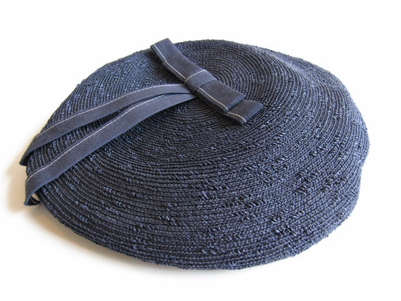 Adorable Navy Blue Raffia Beret with Blue and White Bow