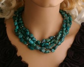 Four Strand Chunky Turquoise nugget Necklace