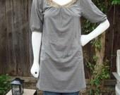 CLEOPATRA-Gray Grey Cotton Tunic hand beaded size Small/Medium