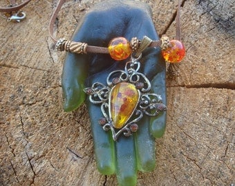 Vintage Leather and Faux Amber Medieval Necklace