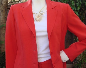 Vintage JOSEPHINE CHAUS Chery Red Raw Silk Pantsuit Size 6 or 8