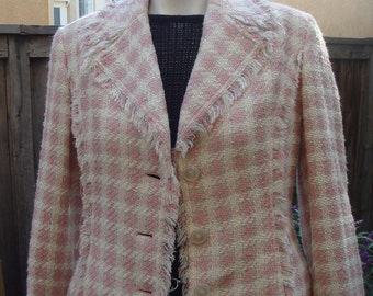 PRETTY IN PINK 90's Pink Houndstooth Tweed Raw Edges Jacket