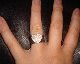 Vintage Pave CZ Heart Ring Mesh Band size 6.5