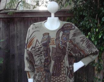 Angora Rabbit Tribal Printed Batwing Sweater Tunic