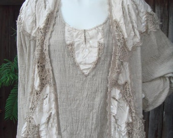 Sequin Linen Embroidered Crochet Cardigan Blazer Jacket ONE- OF- A- KIND