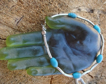 Vintage Sterling Silver Turquoise Beads Flexible Bracelet / Stackable bracelet