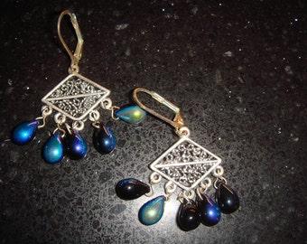 Silver Filigree aurora Borealis Briolletes Earrings