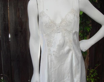 Vintage 80s White Satin Lace and Pearls  Night Gown Slip size Medium for wedding or Valentine's Day
