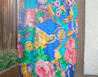 1990s Bold Bright Printed Silk Pencil Skirt Cabbage Roses