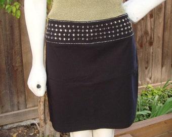 Beaded Black Mini Skirt size Small/Medium