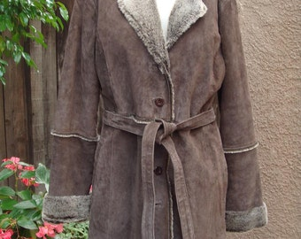 Brown Suede Shearling (Faux) Lined Coat, Vintage 1980s NOS/hippie fur leather jacket
