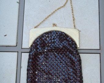 Whitting&Davis Vintage Brown Mesh Bag Purse Chain Strap Evening Bag