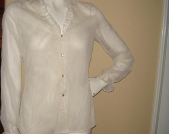 White Sheer Button Down Frill Blouse with Poet Sleeve size Small/Medium