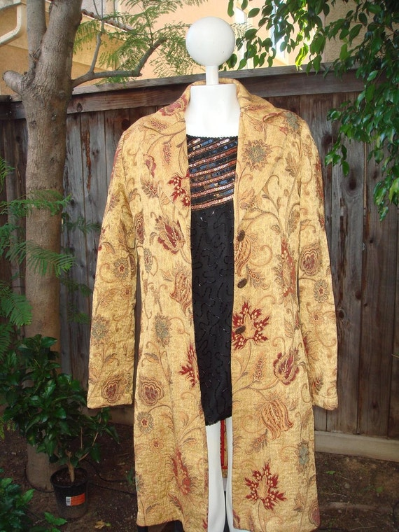 Retro 60's Gold Guinevere Tapestry Coat Trench Jacket size 6