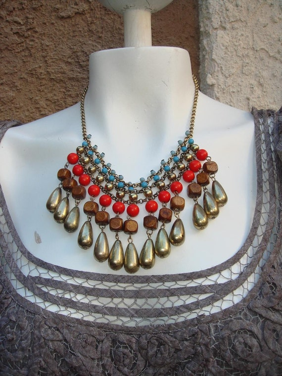 Reserved for Heglin Bib Necklace Vintage ethnic metal beads necklace