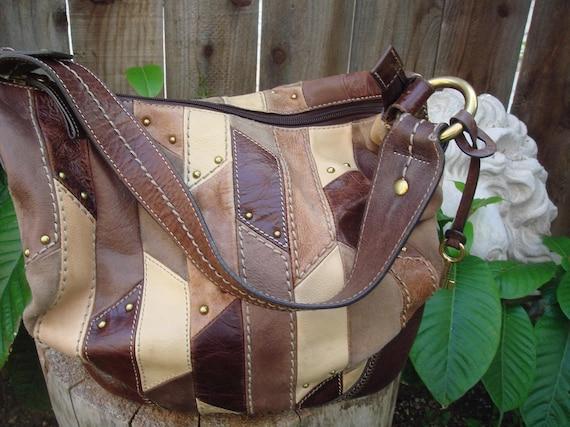 SALE Vintage 90s Studded Leather Patch Hobo Purse SALE
