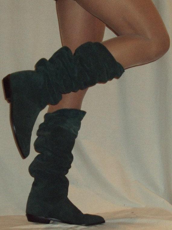 size 10 green suede OTK slouch pirate rushed boots