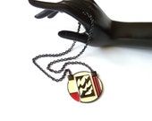 Monet Vintage Modernist  Pendant Necklace with Red Cream Black Enamel 1980s