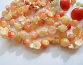 Vintage Peach Necklace and Coral Colored Earrings
