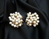 Flirty White Cha-Cha Bead Earrings with Rhinestones