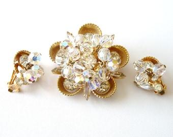Verified Juliana Pin  Earrings Half Cups Clear Beads  Rhinestones  Book Piece