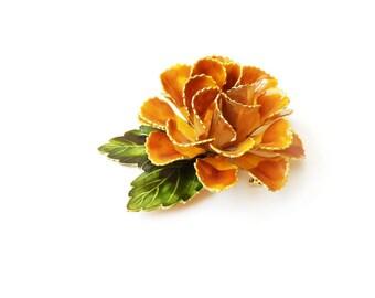 Vintage Golden Yellow Enamel Flower Pin  2.75 Inch Flower Brooch 1960s