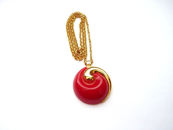 Trifari Modernist Gold Tone Necklace with Red Pendant