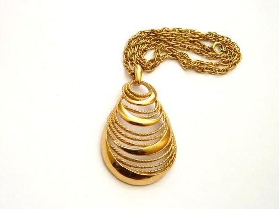 Trifari Gold Tone Modernist Pendant with Swirl Design