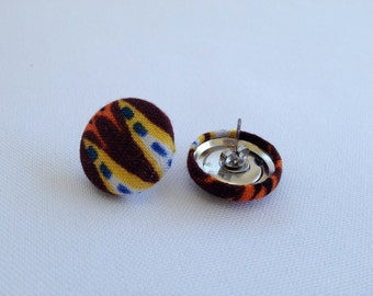 "CLEARANCE Fabric Covered Button Earrings, 3/4"" Tribal"