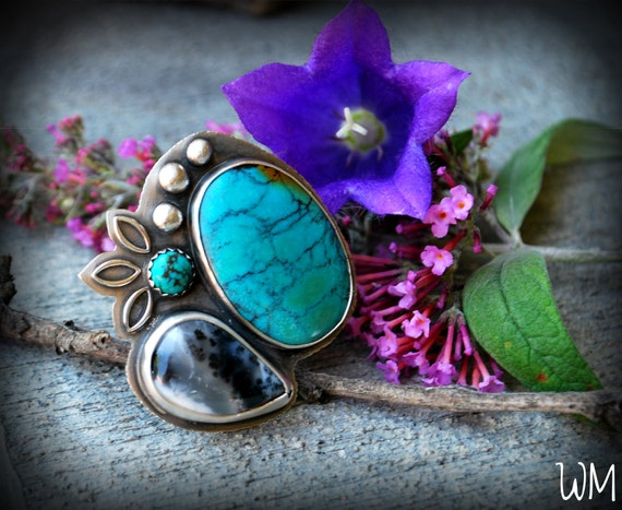 oOo FINAL CHANCE SALE oOo - The Flowering Sky - Turquoise and Merlinite Sterling Silver Ring