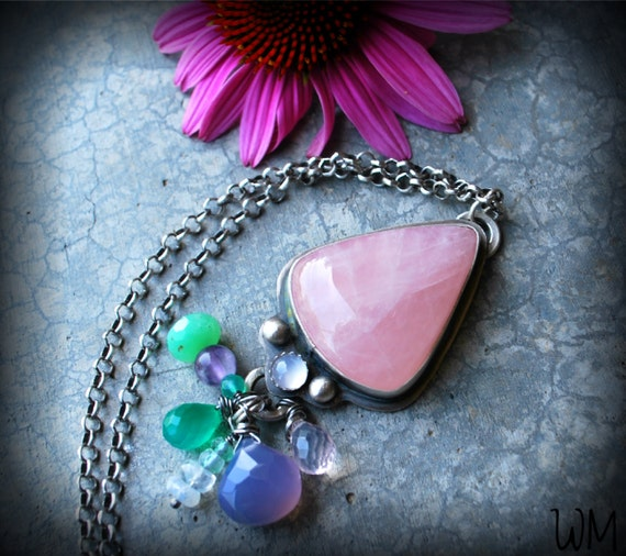 From the Fairy Realm - Rose Quartz Sterling Silver Necklace with Chalcedony Amethyst Chrysoprase Green Onyx Aquamarine and Rainbow Moonstone