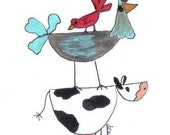 Rooster and Cow Greeting Card