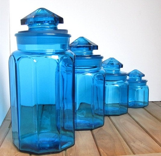 set of 4 vintage blue glass canisters