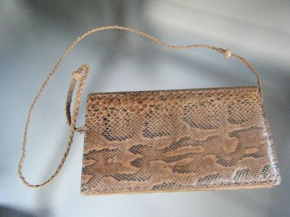 Reserved for Mardi3 Bohemian Brown REAL Snakeskin Leather Envelope Shoulder Clutch