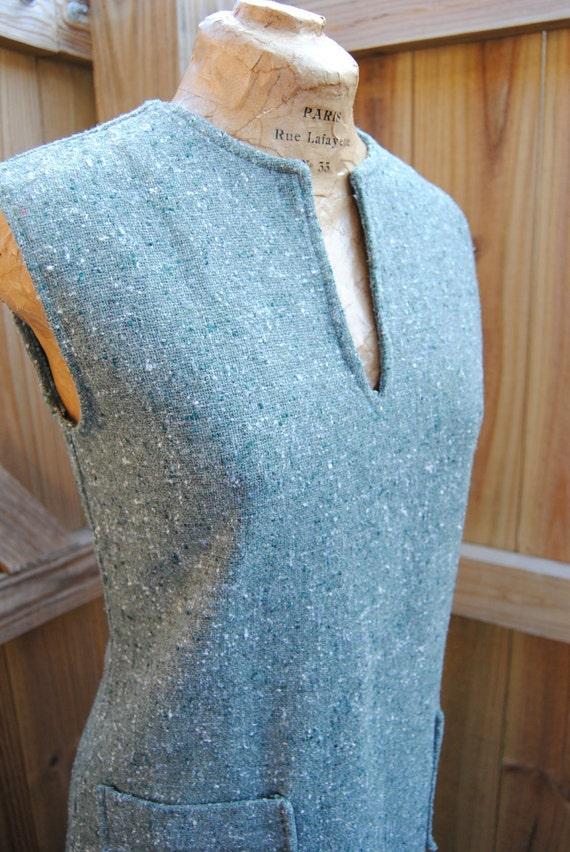 Vintage 1970s JC Penney Green Tweed Wool Blend Shift Dress Size Medium