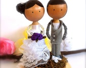 Custom Cake Topper Bride and Groom Clothespin Dolls Wedding Cake Toppers Whimsical Personalized 3D Accents Keepsake CreativeButterflyXOX