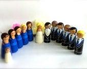 Custom Wedding Party Wedding Cake Topper Bridal Party Set Bridesmaids Groomsmen Flower Girl Wedding Party Favors Wooden Dolls Wood Peg Doll