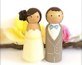 Cute WEDDING CAKE TOPPER Custom Cake Topper Peg Dolls Large Bride and Groom Wedding Cake Toppers Cake Topper Wedding Decoration Just Married