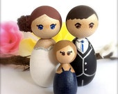 Custom Wedding Cake Toppers Bride Groom Child Family of 3 Large Wood Peg Japanese Style Anime Personalized Keepsake Collectable Hand Painted