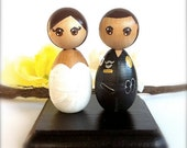 POLICE OFFICE  Wedding Cake Toppers Kokeshi Dolls Any Uniform Fire Man Firefighter Nurse Doctor Military Army Navy Custom Bride Groom