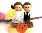 READY TO SHIP - Wedding Cake Toppers Bride and Groom Spool Kokeshi Dolls Wood Peg Dolls Lace Clothing Woodlands Stand Cute Japanese Anime