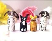 Custom Pet Dog Cat Wood Peg Doll Peggie Personalized Animal Toy Hand Painted Keepsake Cute Art Fury Dollhouse Miniatures Play Waldorf